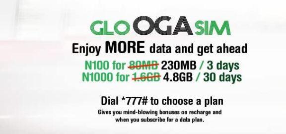 Glo Oga SIM Gives new and existing customers 125% data bonus