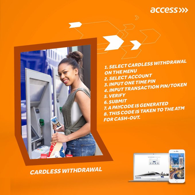 Access Bank Cardless Withdrawal – How To withdrawal Money from ATM Machine Without Naira debit Card