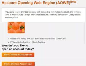 gtbank account opening online