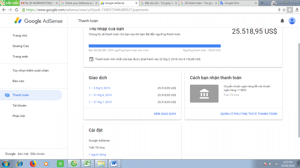 adsense payment page view
