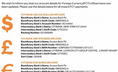 access bank Domiciliary Account